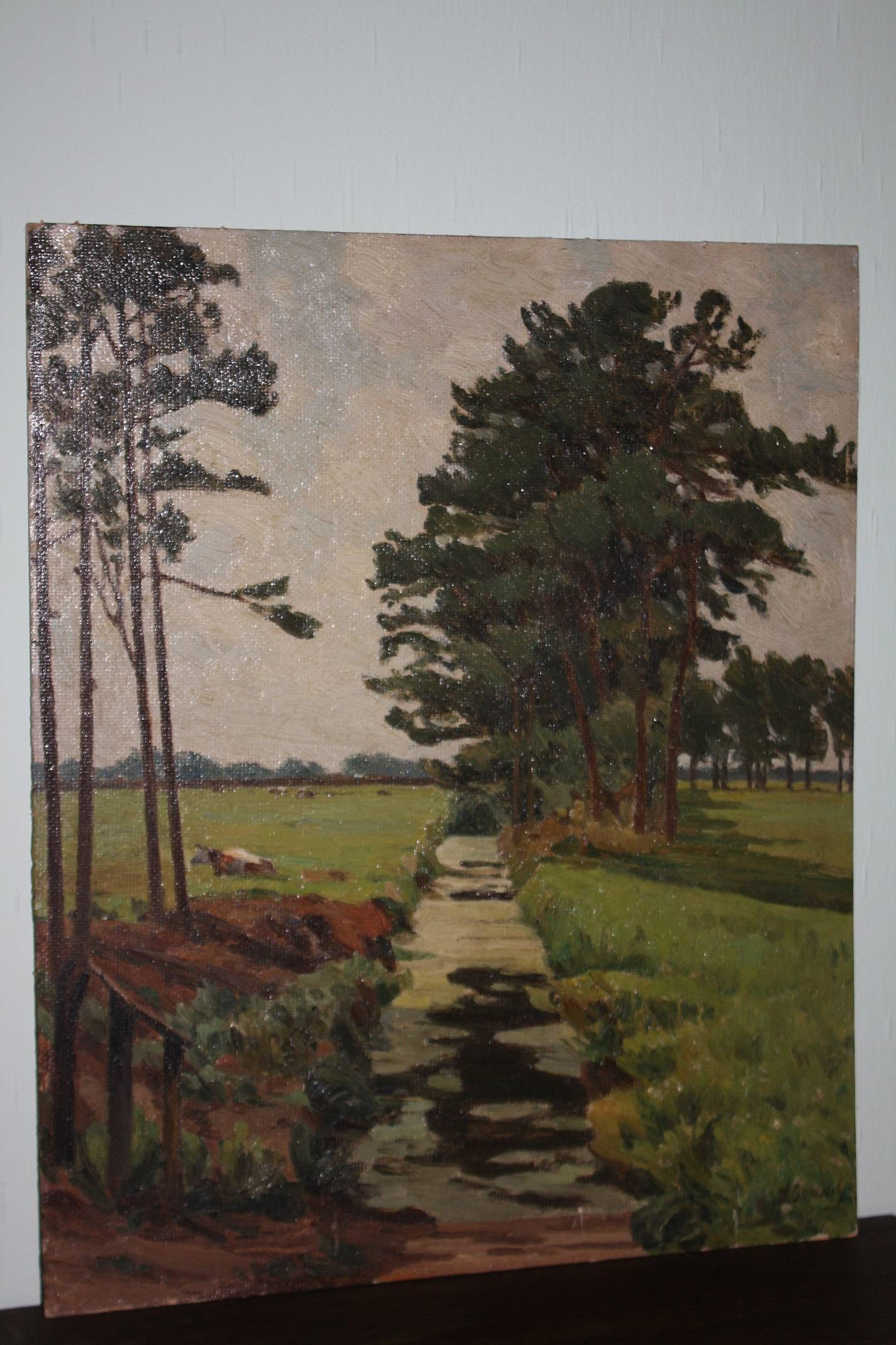 North German landscape, early 20th century signed painting, oil on board, Wilhelm Bartsch