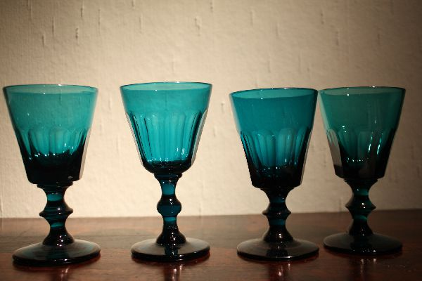 Four antique 19th century russian-green (petrol) crystal wine glasses