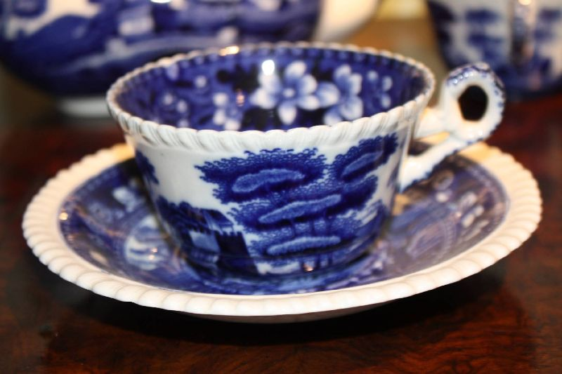 A blue and white tea/coffee serving set service by Copeland, Spode's Tower