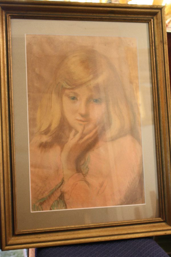 Watercolour crayon mixed media on paper young girl's portrait Jacobus 'Ko' Cossar
