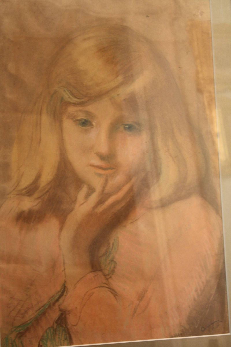 Dutch early 20th century watercolour crayon mixed media on paper young girl's portrait, signed Jacobus 'Ko' Cossar