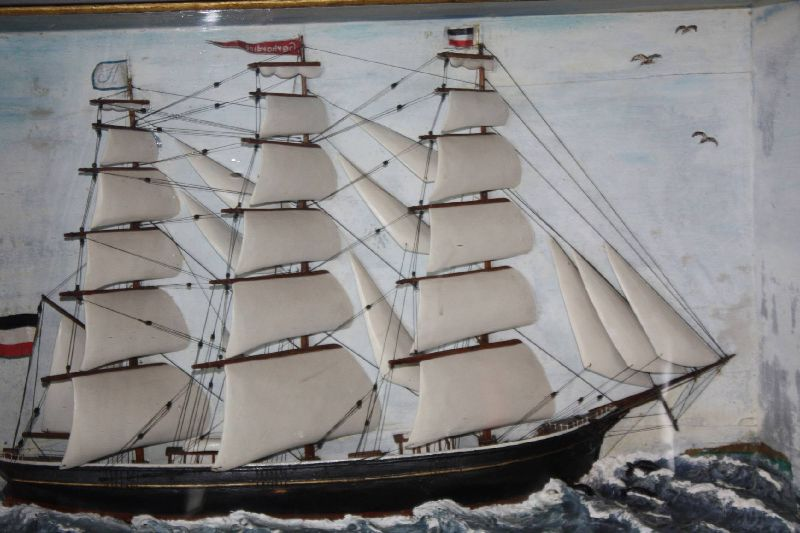 Antique vivid 1900 wooden half model diorama of a German three mast bark sailing ship, called 'Gerhardine'