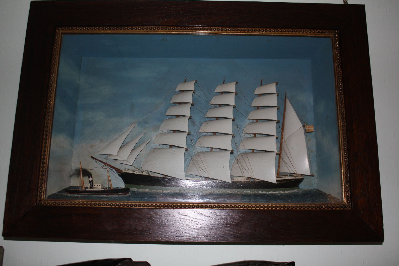 Antique wooden 1900 four mast sailing ship half model diorama, front glass display, ship with danish flag
