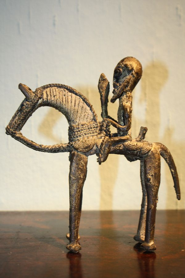 A bronze african tribal horseman figurine from the Dogon-tribe in Mali