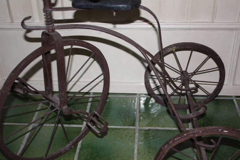 Antique 1900 wrought iron wooden rims and handles children's tricycle