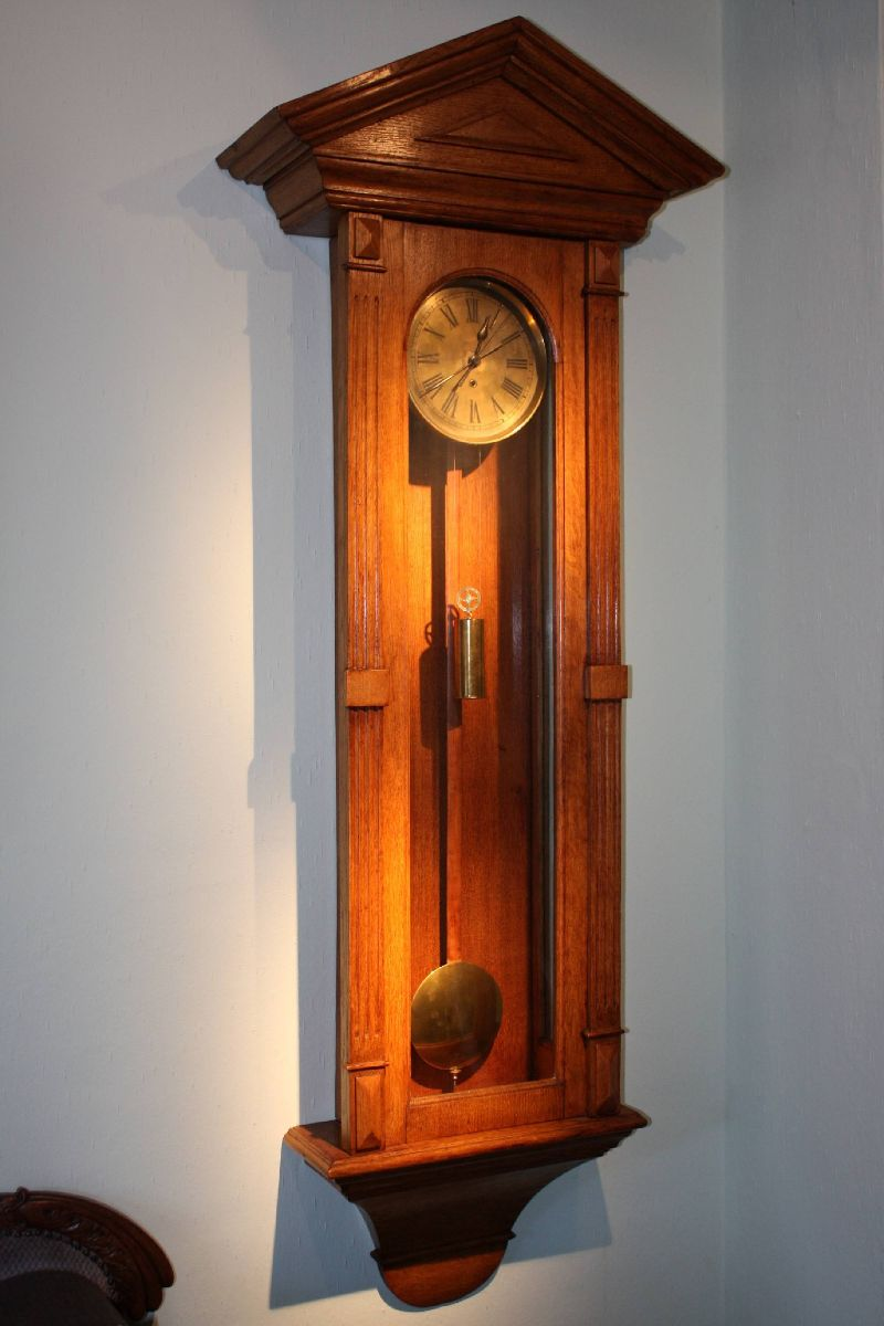 A large unique monumental German 1925 precision wall clock 10-day regulator with seconds pendulum by 'Gustav Becker'