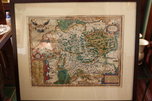 A 1600's coloured copper engraving map showing North Germany by Abraham Ortelius