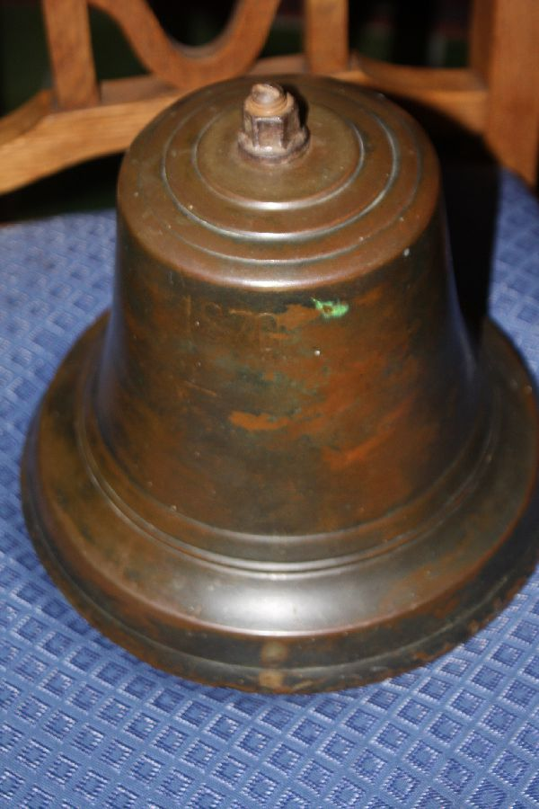 An 1870 dated antique bronze ship's bell, 19th century