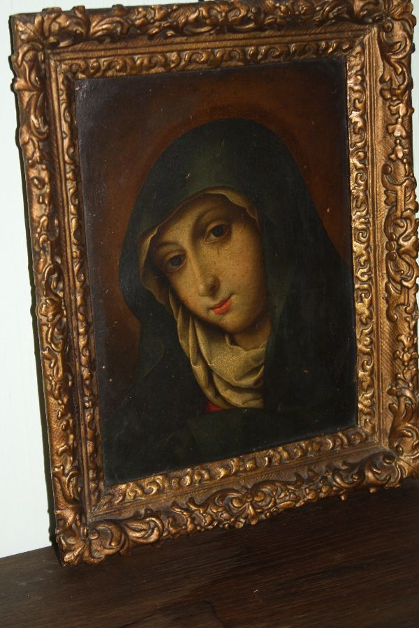 A small antique early 18th century portrait of St. Hildegard of Bingen, oil on copper painting