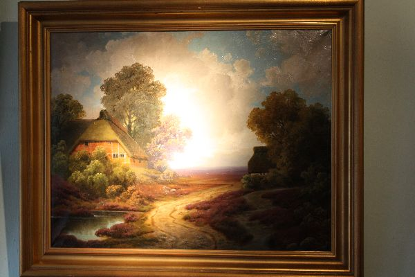 Large North German moorland with farm house landscape signed and dated oil painting, 'W. Mohrmann (19)25'