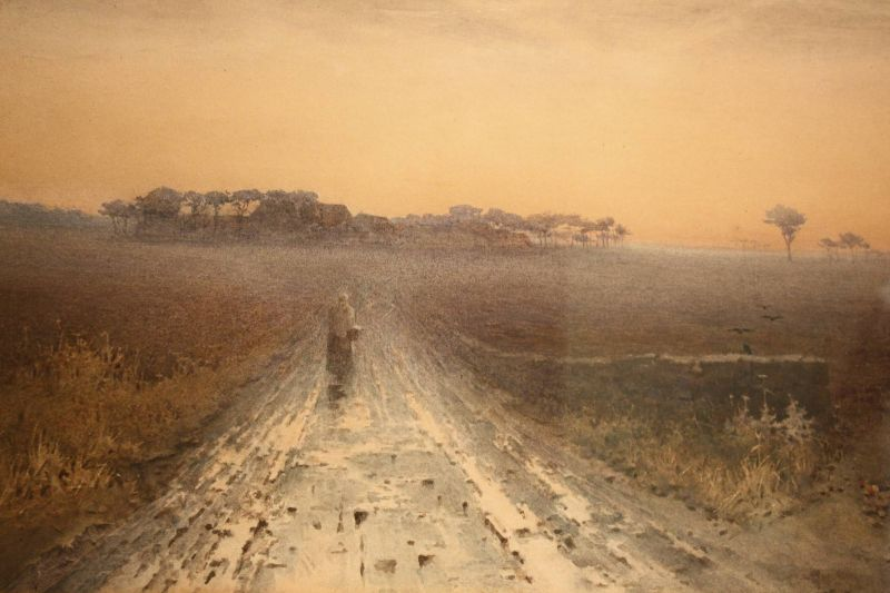 A fine 19th century watercolour rainy landscape painting by Amy Foster
