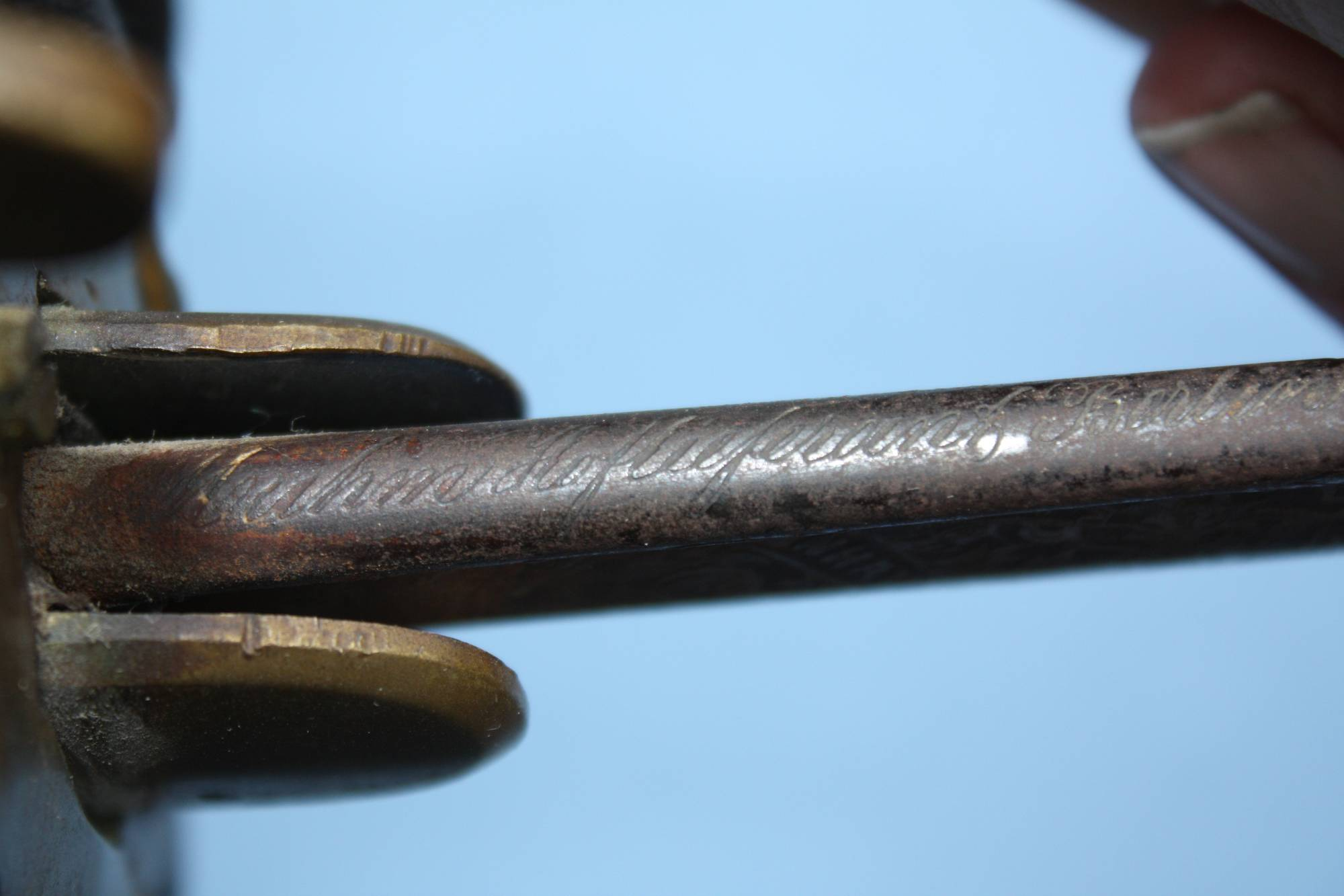 Antique 1850 Preussen Sabre Ferdindand Muhm Berlin, engraved maker's mark, Hoflieferant Ferdinand Muhm Berlin, steel blade with etched marking