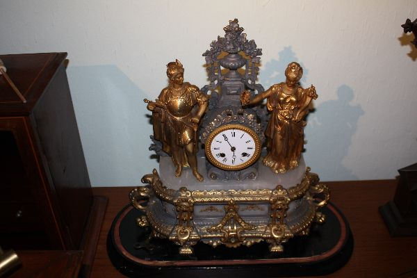 Impressive antique French figural gold, cast metal 1900 mantel clock with glass dome