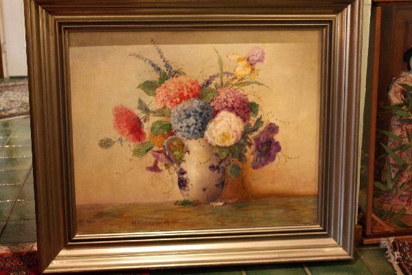 Large signed German flower still life painting Max Streckenbach