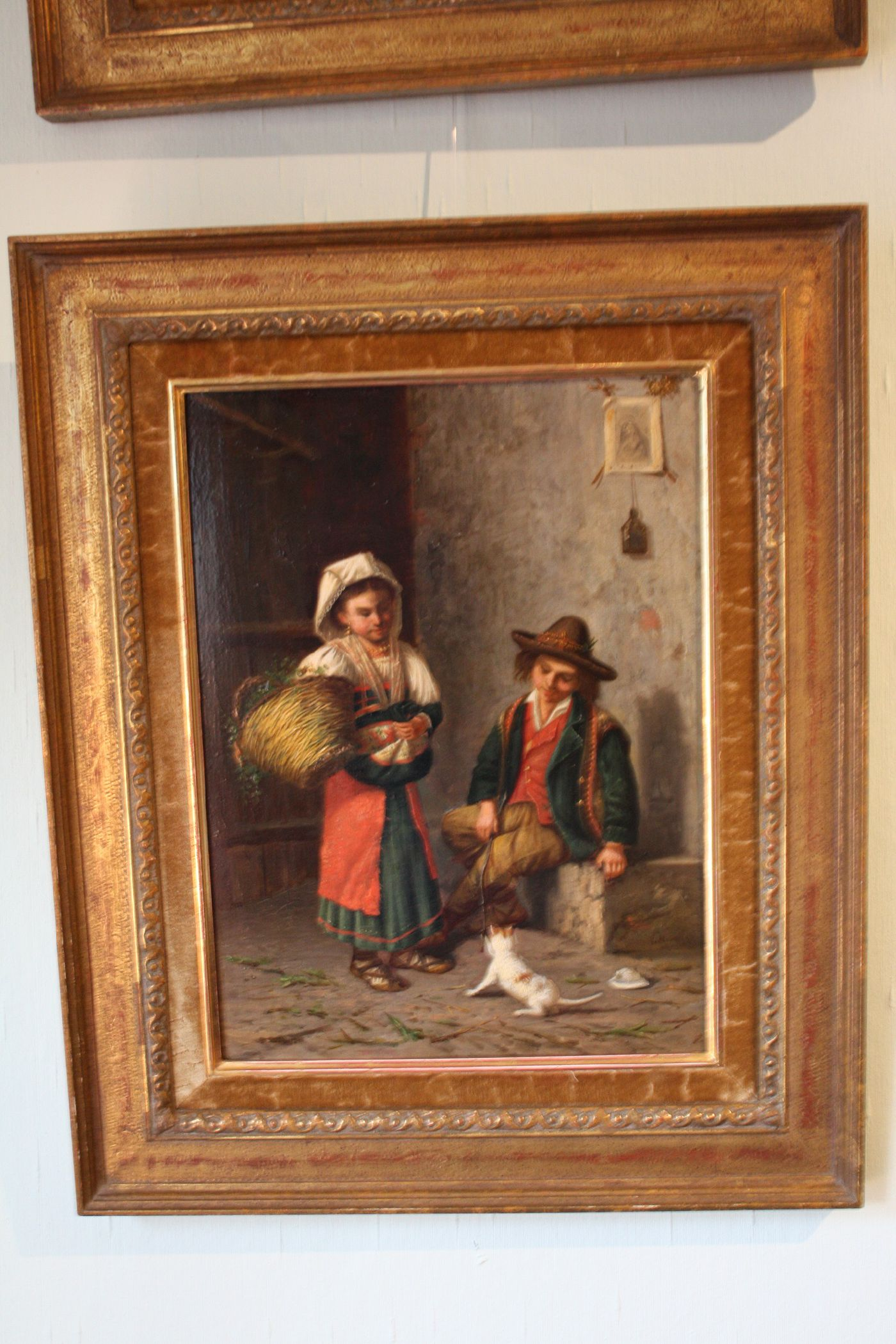 Fine Italian Mid-19th century scenery of children playing with a cat, painting oil on wood, signed 'G. Mormile',  Gaetano Mormile