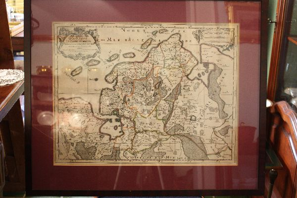 Coloured 1700 copper engraving map of North Germany by Alexis Hubert Jaillot