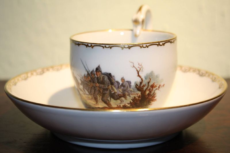 An exceptional antique 1915 collectable porcelain Meissen cup and saucer