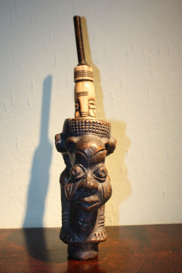 A 1900 terracotta and ivory tribal Cameroon Grassland ceremonial pipe