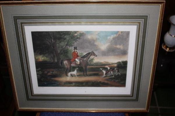 Coloured engraving Horseman Portrait titled 'Going Out'