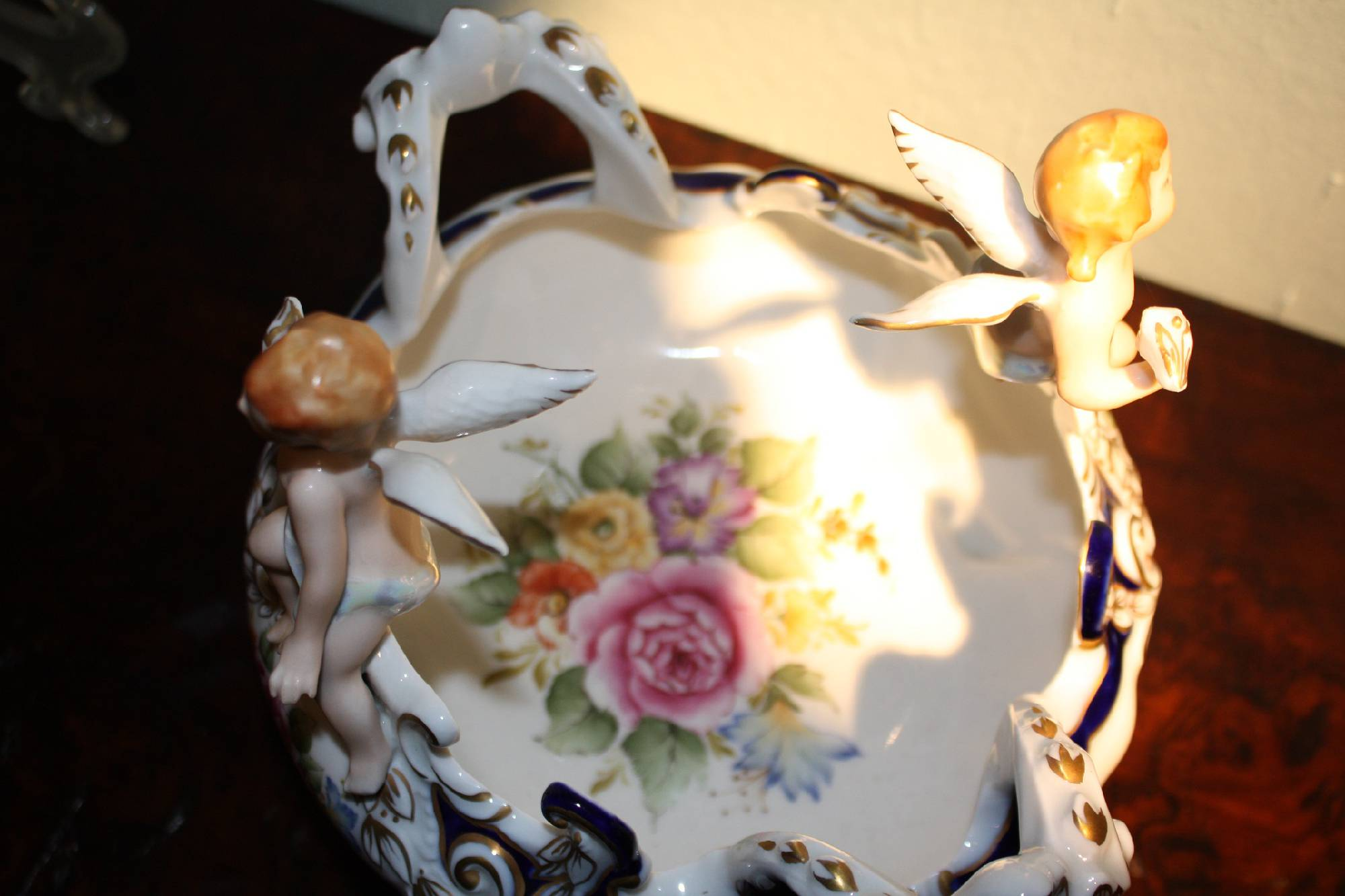 A vintage 20th century figurative putti angels rich ornate 2 handle porcelain dish tray by Kueps