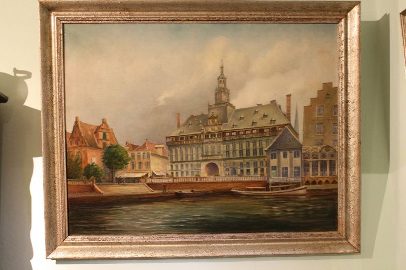 Large 20th century painting of the town hall of Emden, Germany (destroyed in WW2), signed Franz Ambrasath