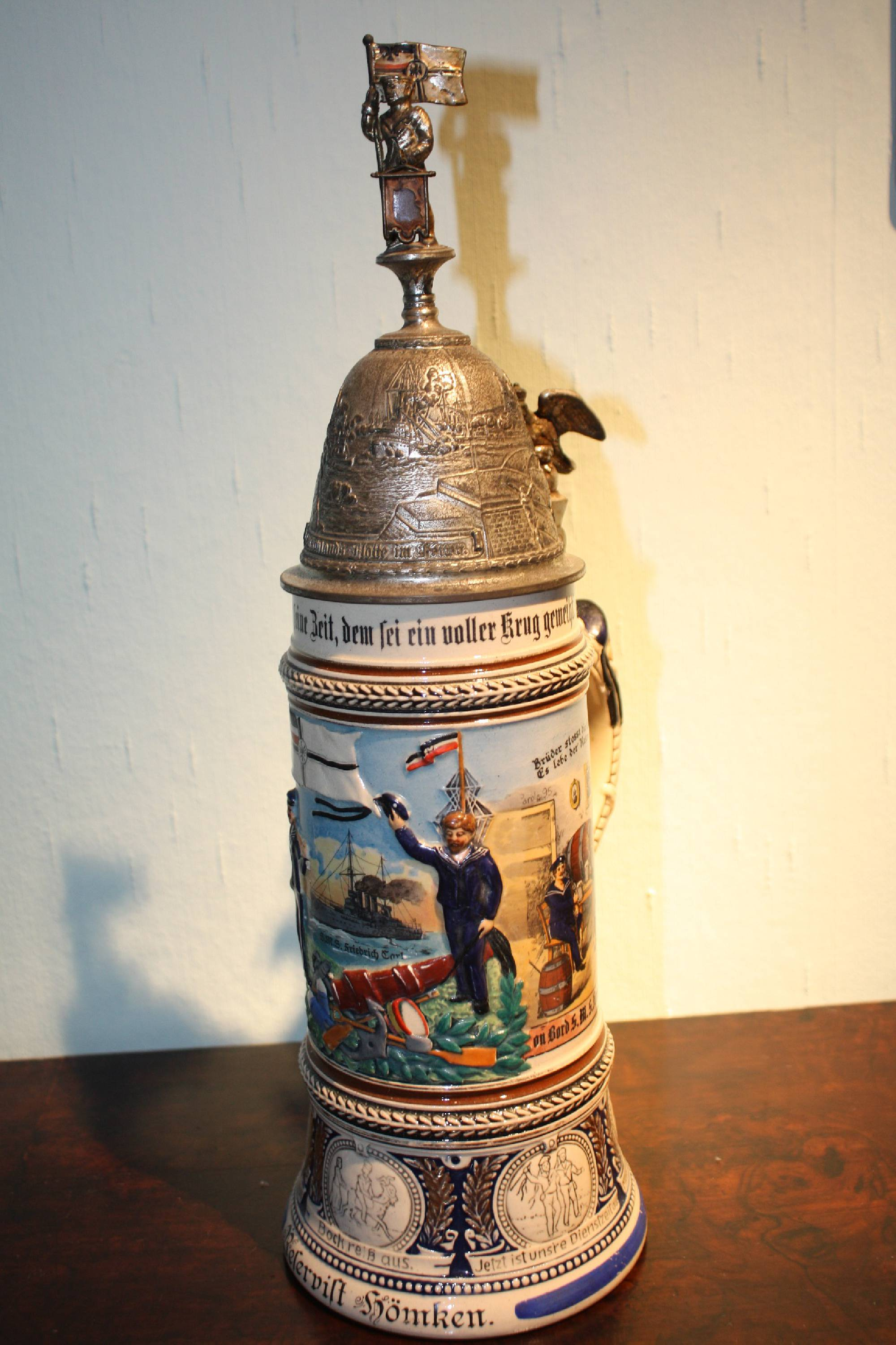 A tall 1910 antique German military reserve, naval forces 1st World War memorabilia, beer jug, 'Kaiserliche Marine'