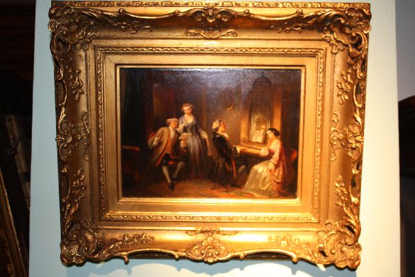 Scenery of music making aristocrats signed painting oil on wood Henricus Engelbert Reyntjens