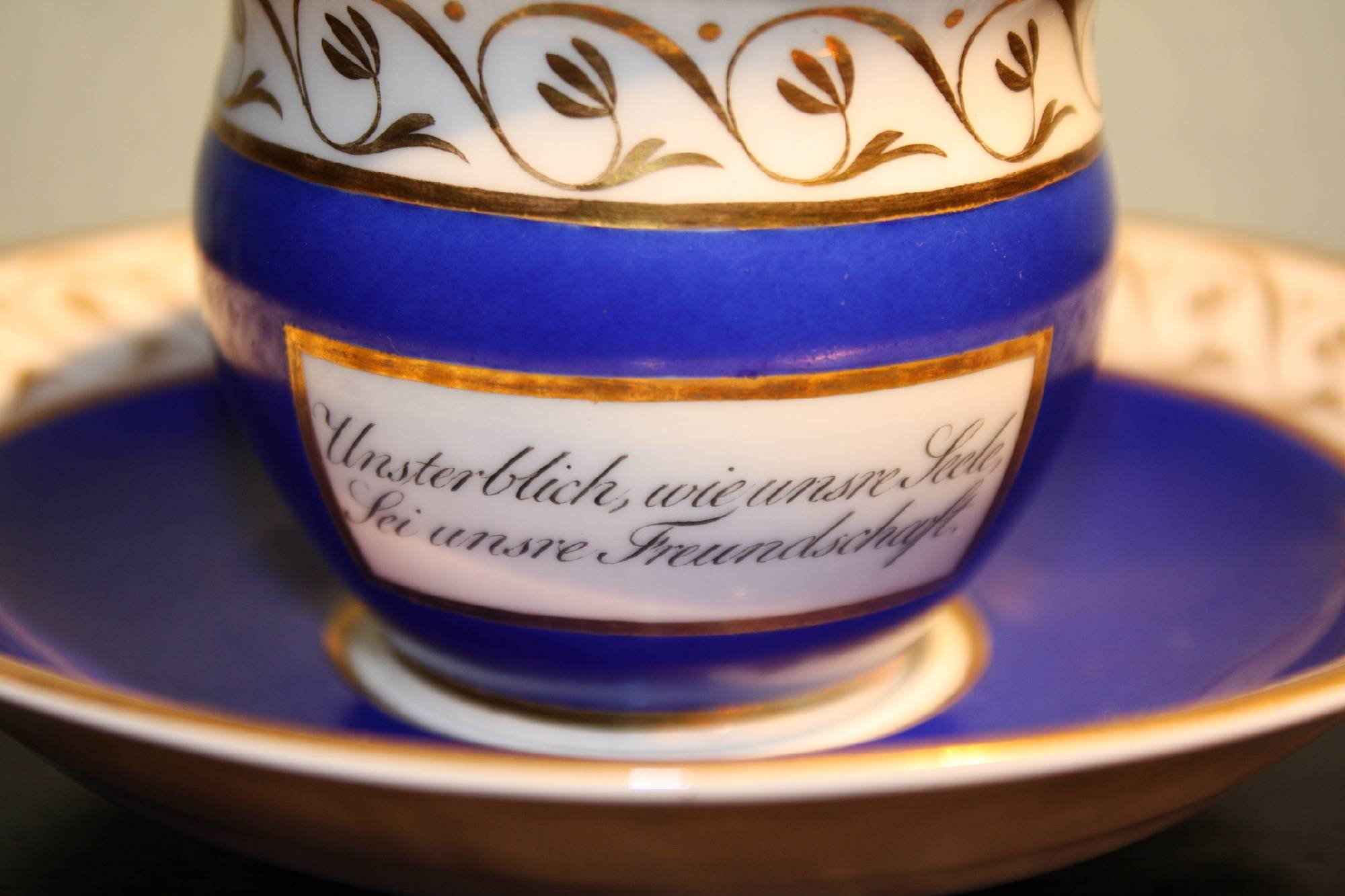 Antique first half 19th century collectable 'KPM', Berlin porcelain motto cup