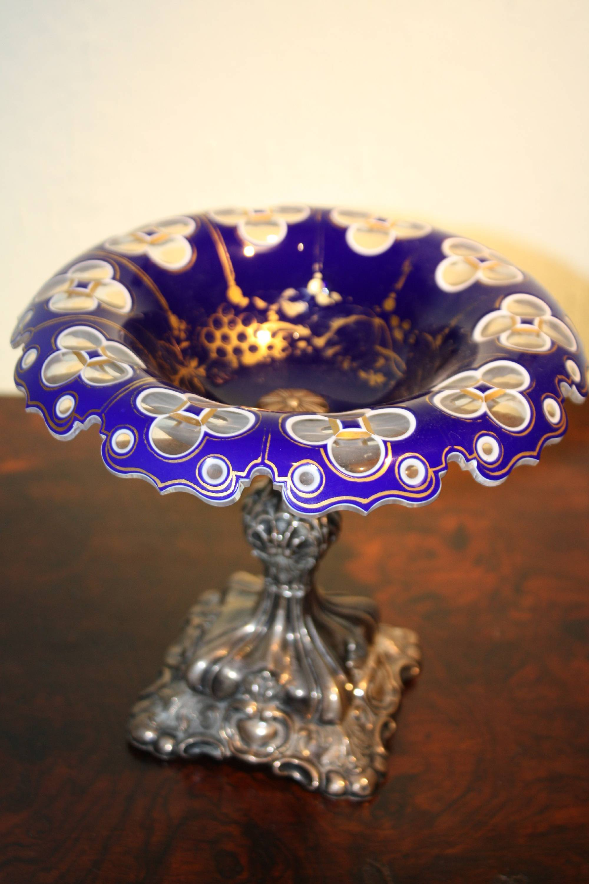 Antique Mid-19th century Bohemian ornate silver and glass footed bowl