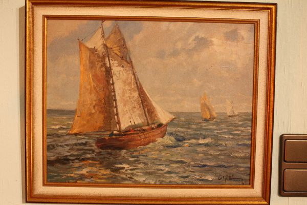 Painting of a sailing boat Wilhelm Götting (1901-1978)