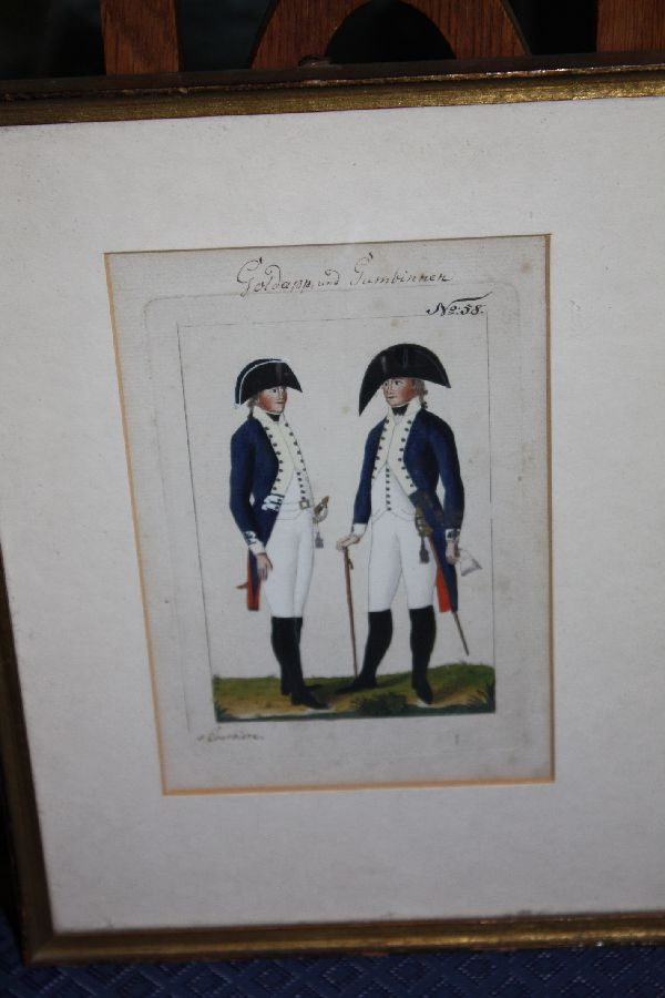 1800 coloured copper engraving showing two soldiers by de Courbière