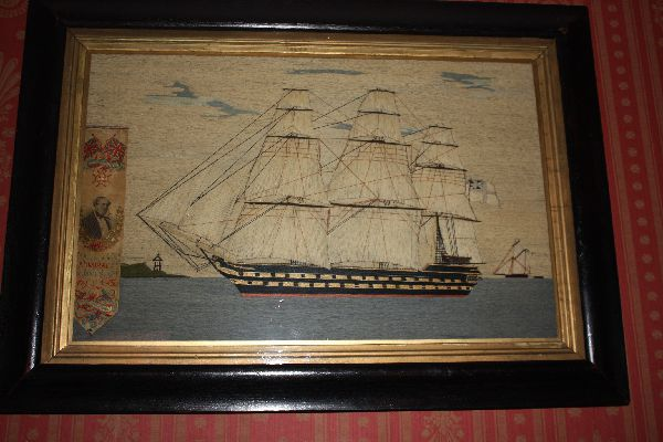 English 19th century cotton and silk stitched ship portrait of the HMS Duncan under Admiral James Hope