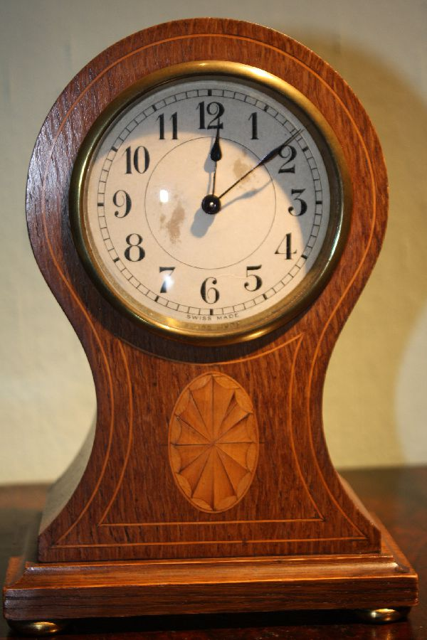 Vintage Swiss made wooden case with inlay table desk mantel clock