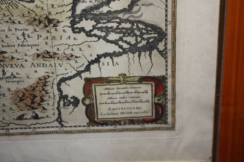 Dutch 1650's coloured copper engraving map of Venezuela by Willem Janszoon Blaeu